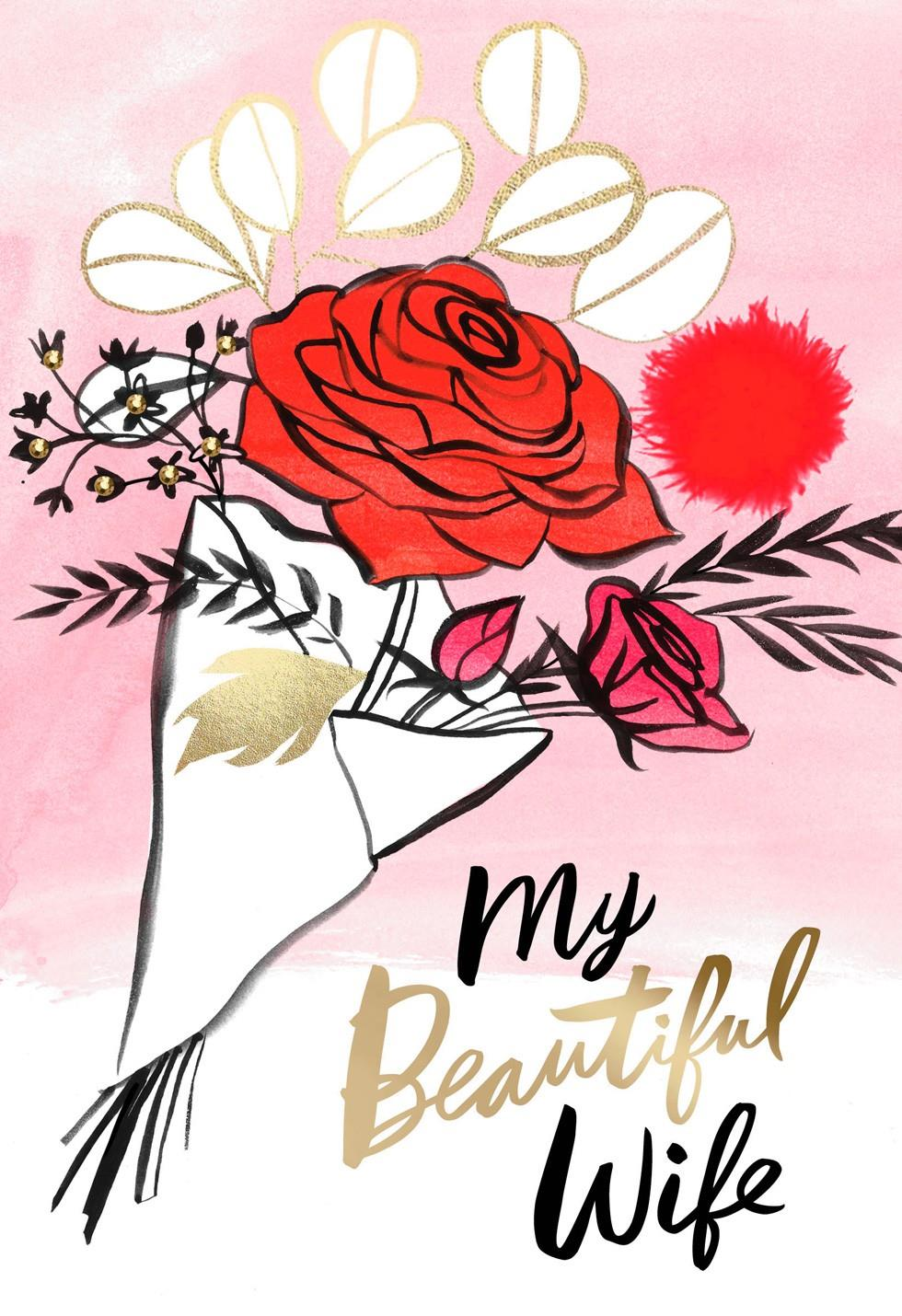 Rose Bouquet for Wife Valentines Day Card Greeting Cards Hallmark – Wife Valentines Day Card