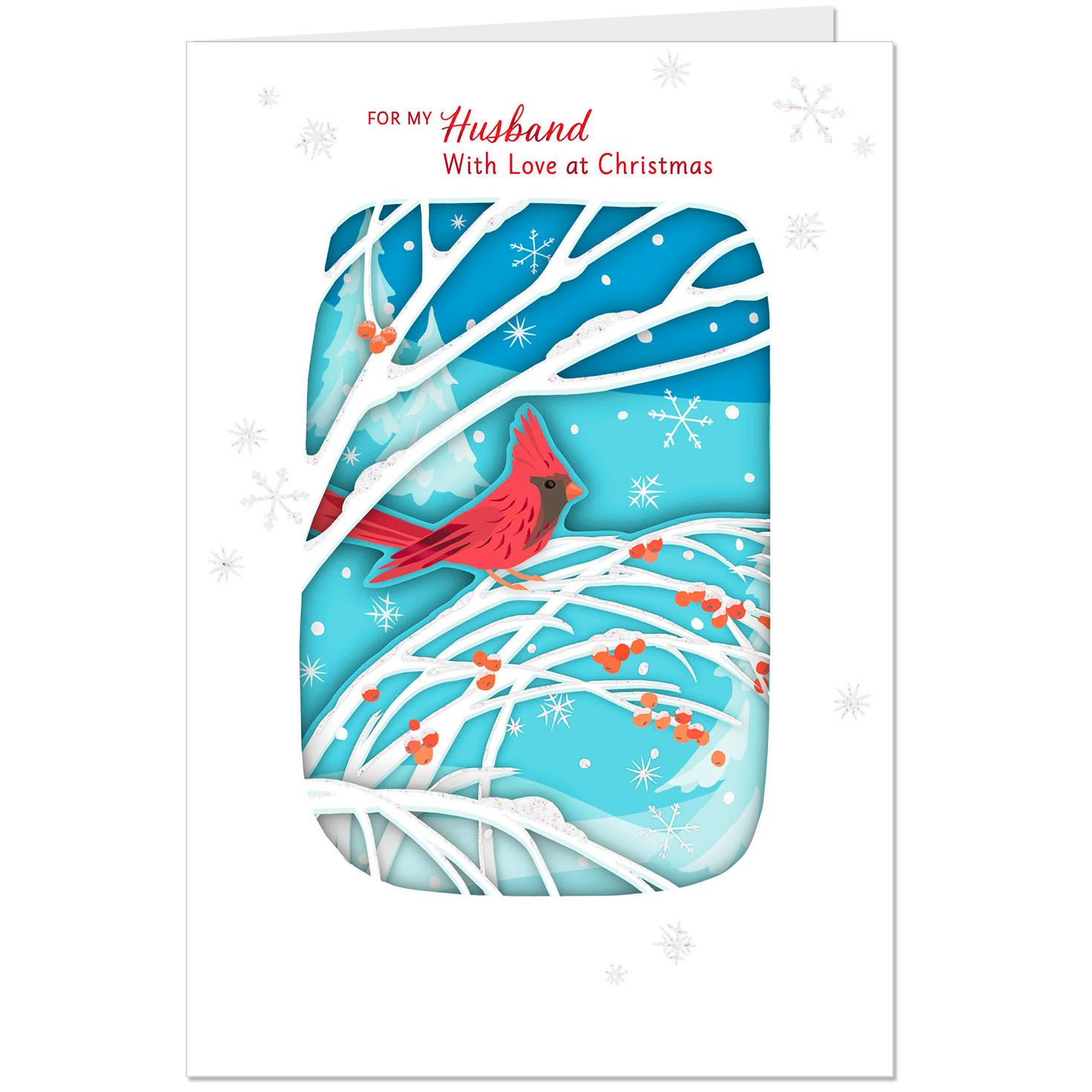 Winter Cardinal Layered Paper Christmas Card For Husband