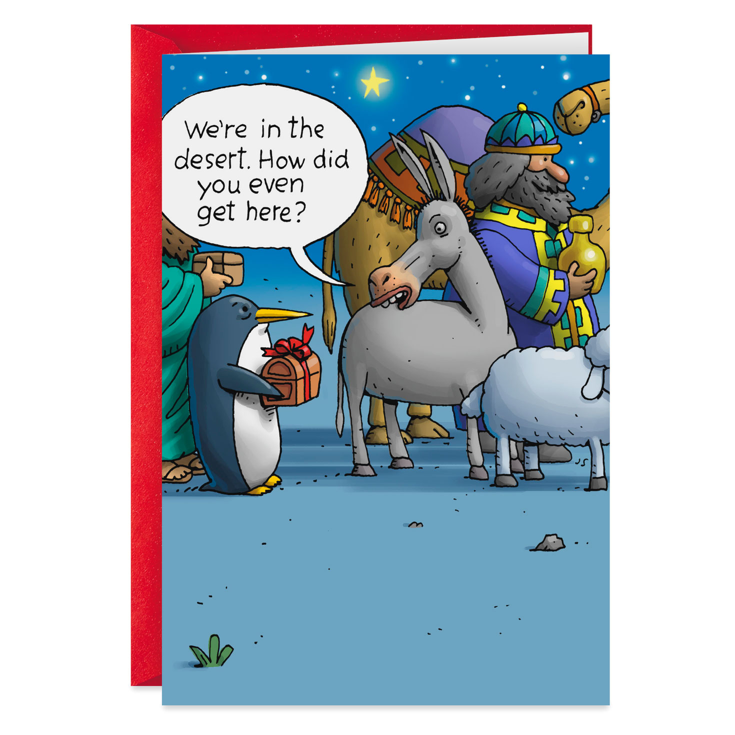 penguin at the nativity funny christmas card  greeting