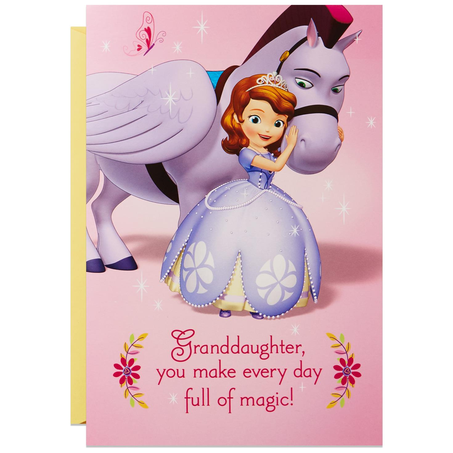 Sofia the first and minimus musical birthday card for sofia the first and minimus musical birthday card for granddaughter bookmarktalkfo Gallery