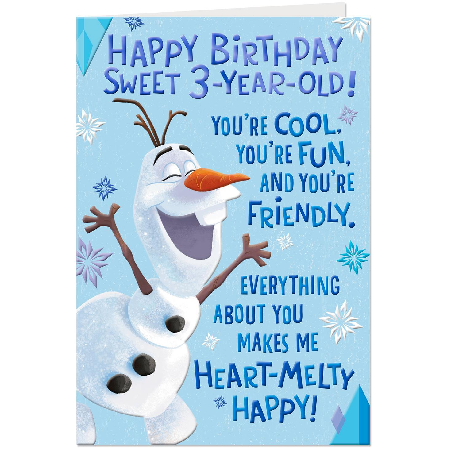 Disney Frozen Olaf Heart Melty Happy 3rd Pop Up Birthday Card