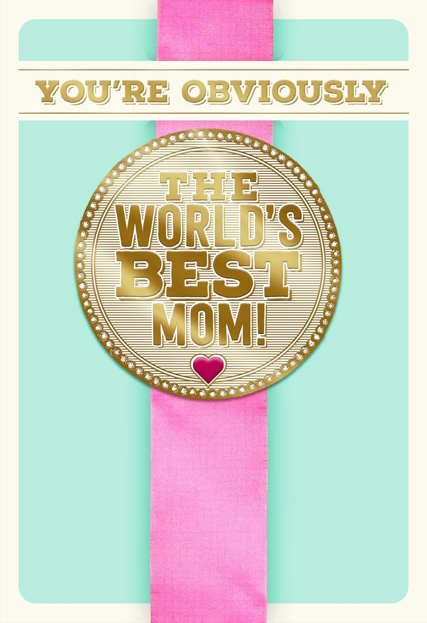 World's Best Mom Ribbon Funny Mother's Day Card - Greeting ...