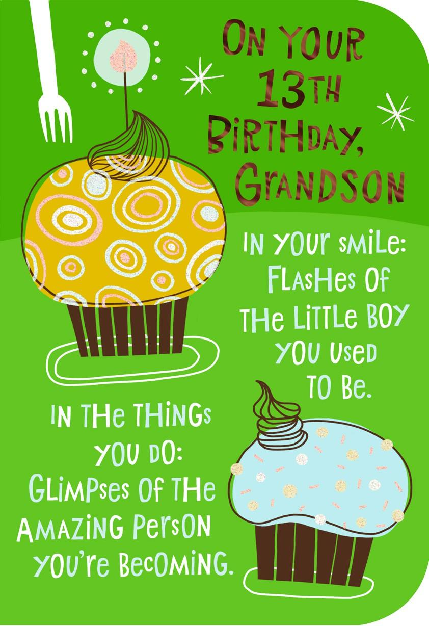 Cupcake 13th Birthday Card For Grandson Greeting Cards