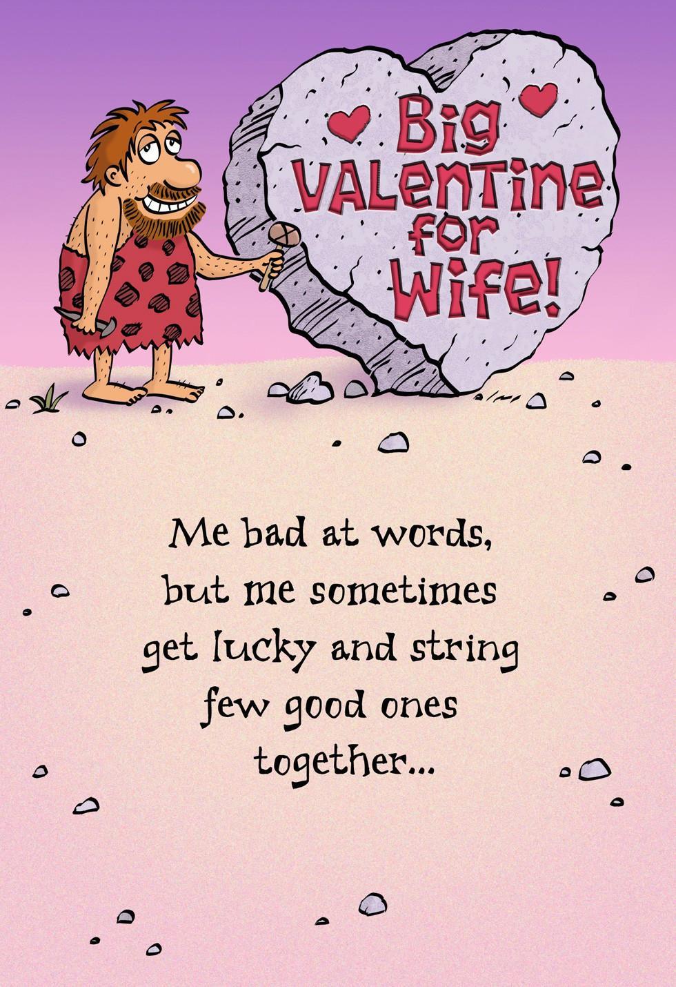 Bearded Caveman Big Valentine For Wife Valentines Day Card – Wife Valentines Day Card
