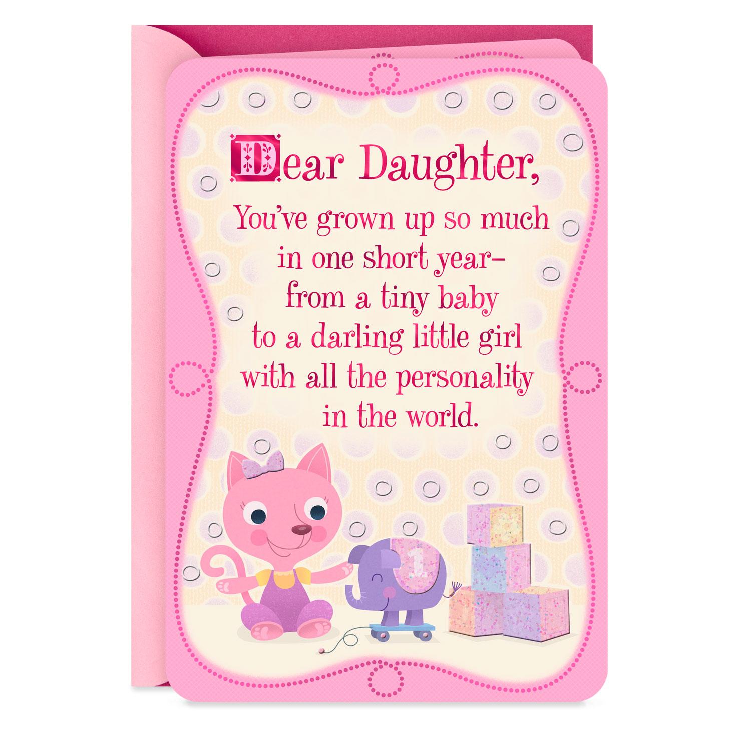Pink Kitten 8st Birthday Card for Daughter