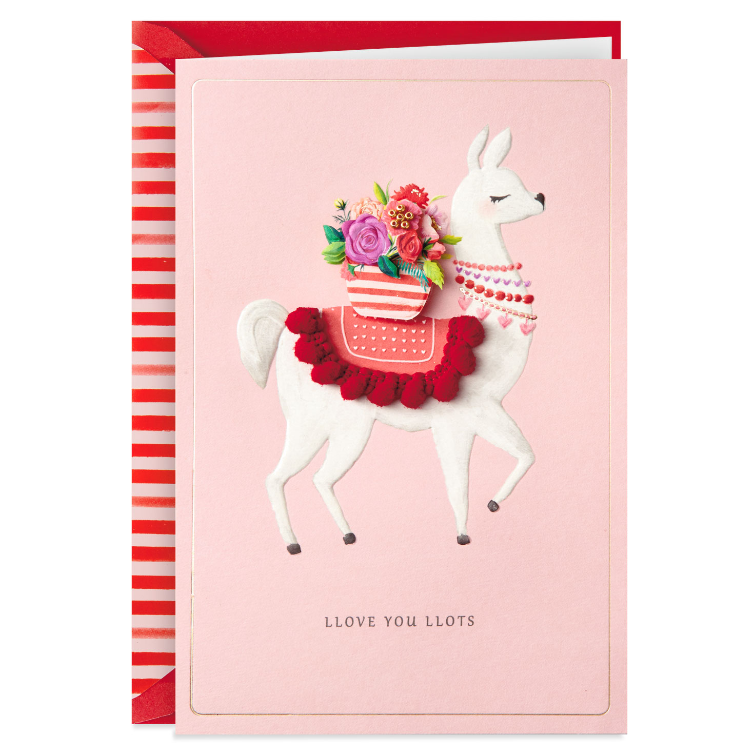 llama love you llots valentine's day card  greeting cards