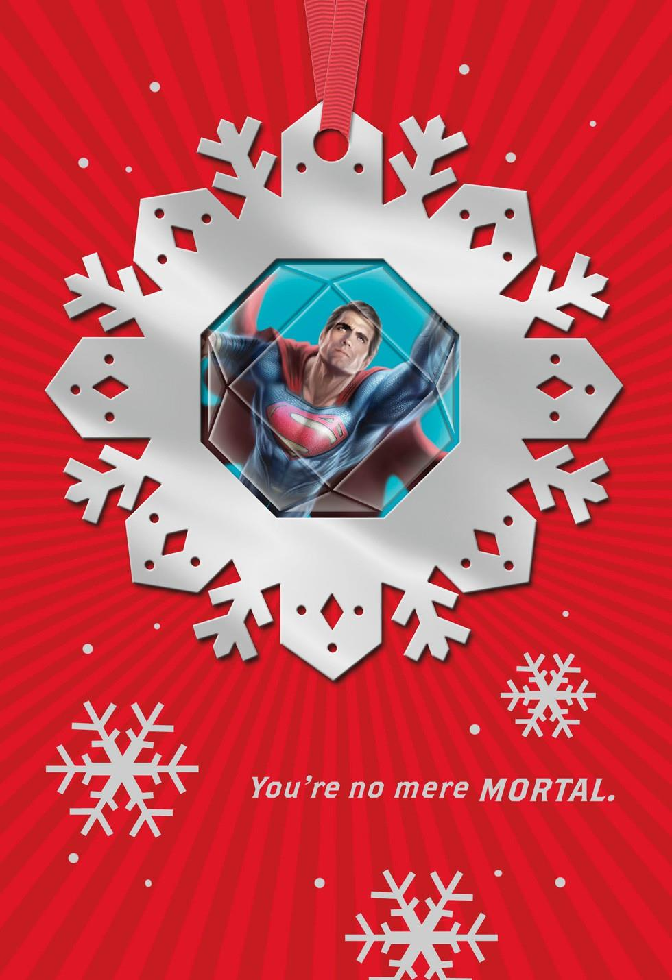Superman No Mere Mortal Christmas Card With Ornament