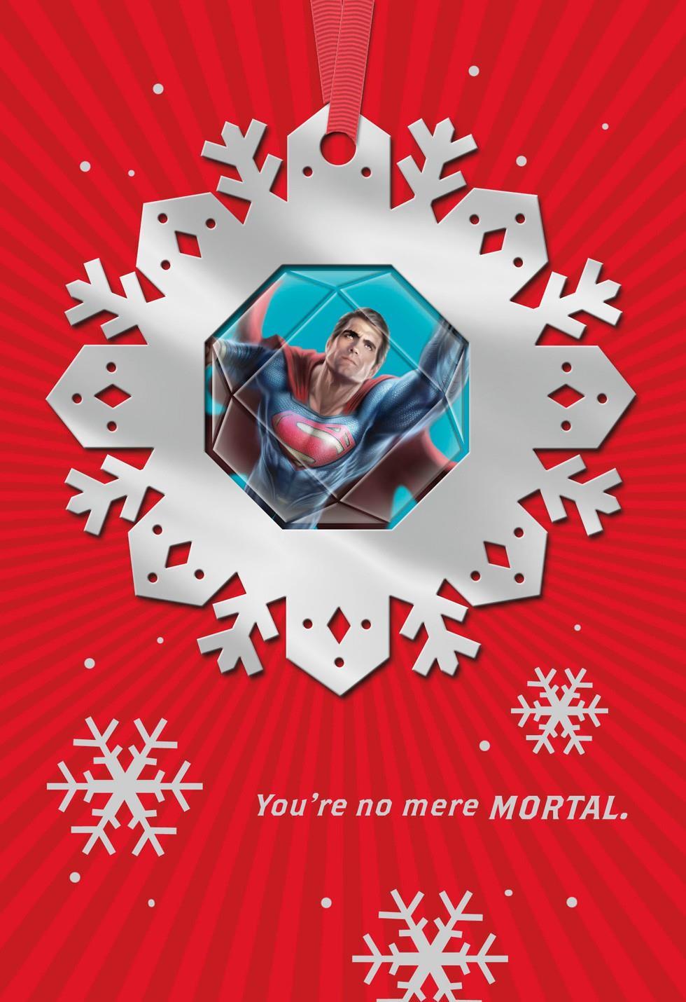 superman u2122 no mere mortal christmas card with ornament