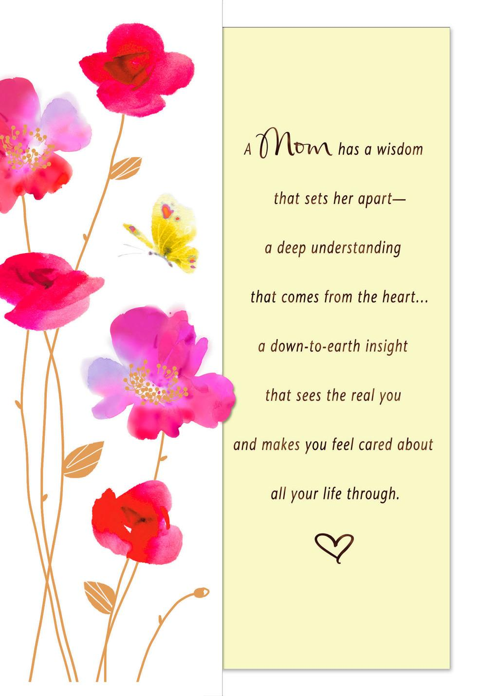 Pink flowers and yellow butterfly mother 39 s day card from Hallmark flowers