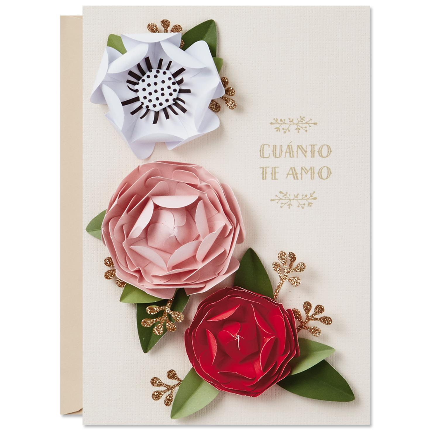 Paper flowers spanish language valentine 39 s day card Hallmark flowers