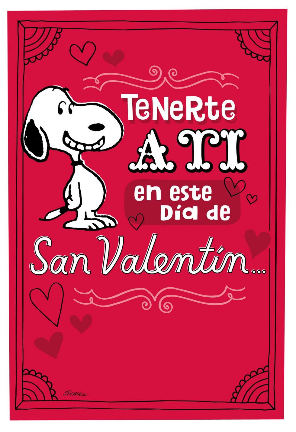 Peanuts Snoopy Happy Dance Spanish Valentines Day Card
