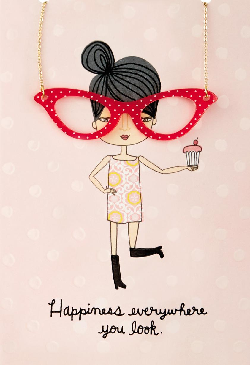 happy eyeglasses necklace birthday card