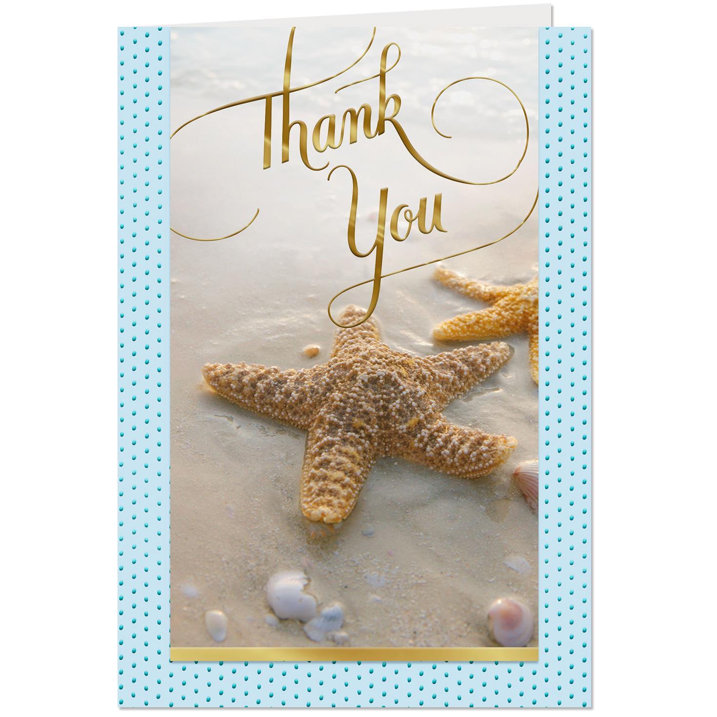 Wonderful Starfish Large Print Thank-You Card - Greeting ...