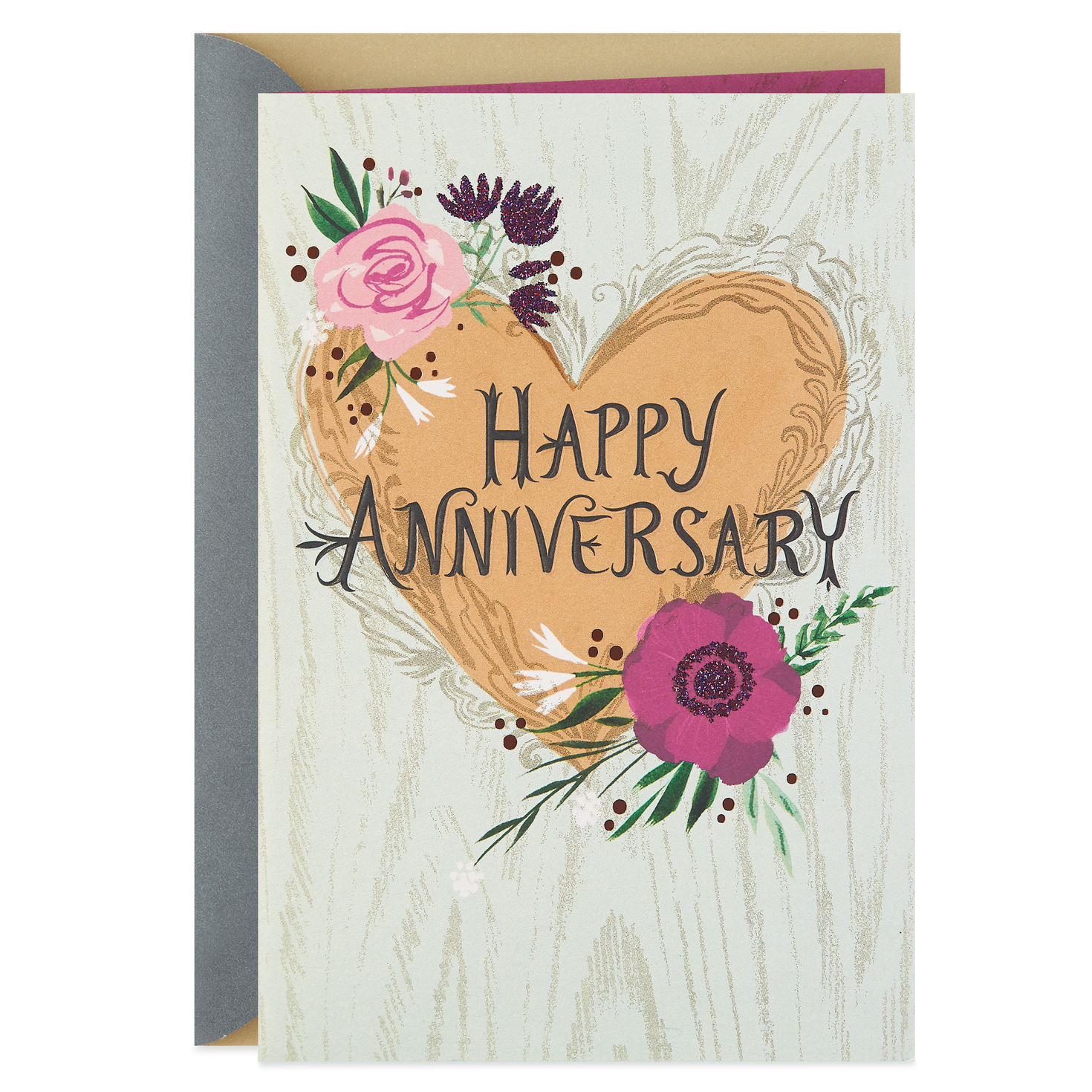 Heart And Flowers With Glitter Anniversary Card