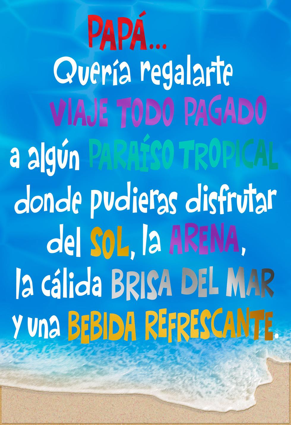 Tropical Vacation Spanish Language Funny Fathers Day Card