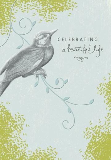 celebrating a beautiful life sympathy card  greeting