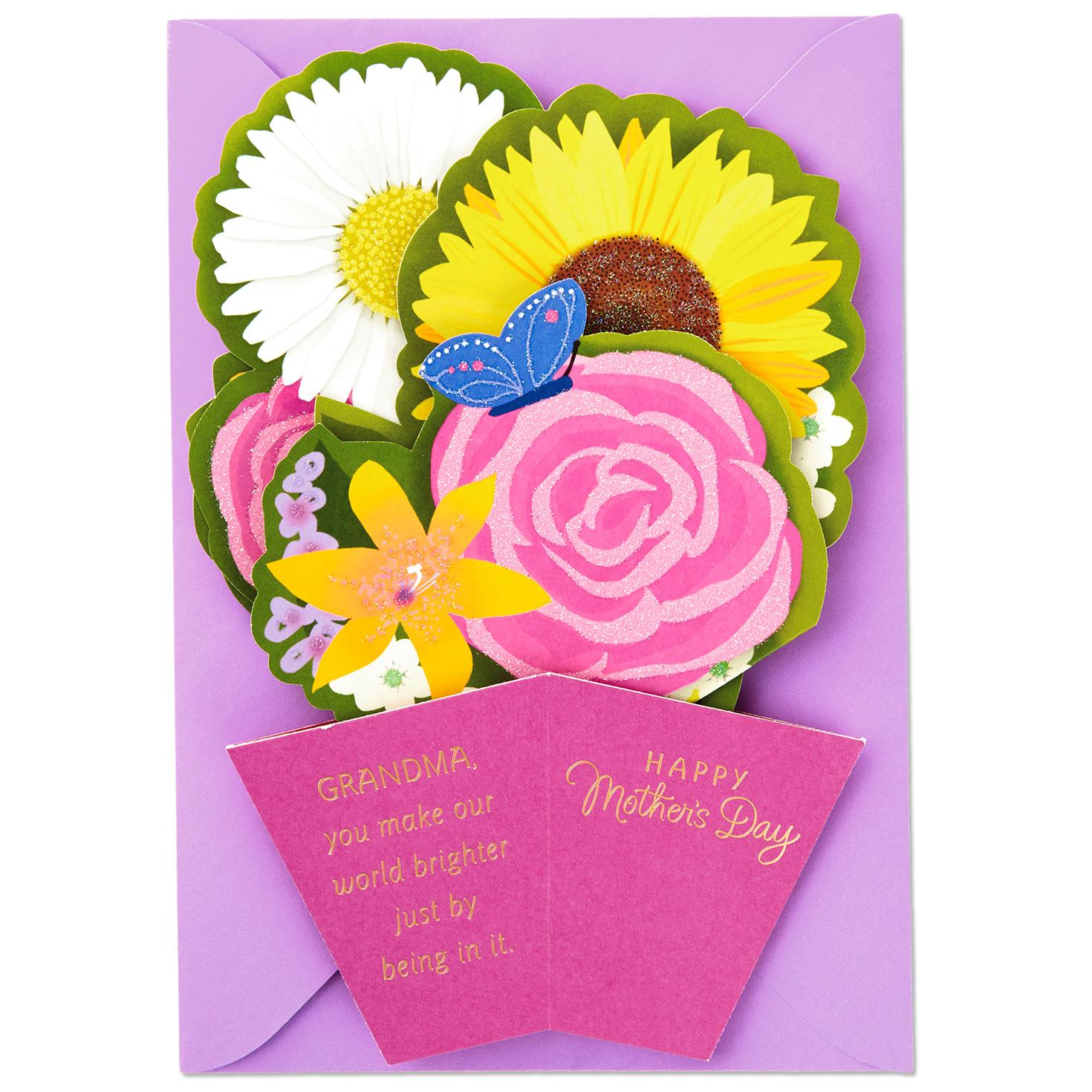 You Brighten The World Pop Up Mothers Day Card For Grandmother