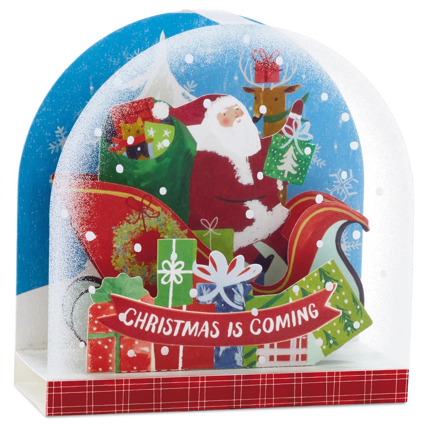 Santa\'s Sleigh Snow Globe Pop Up Christmas Card - Greeting Cards ...