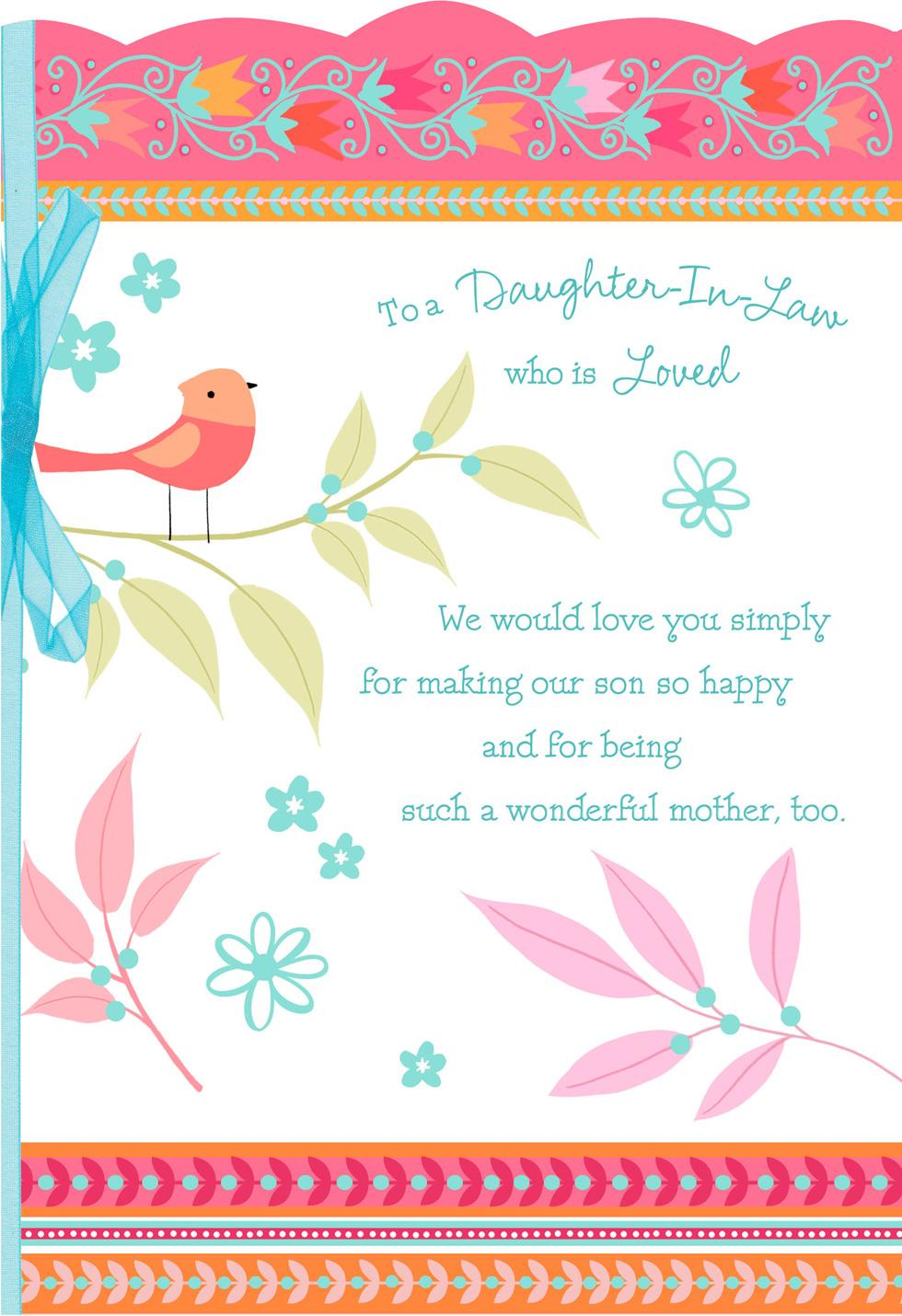 Songbird Mothers Day Card For Daughter In Law Greeting Cards