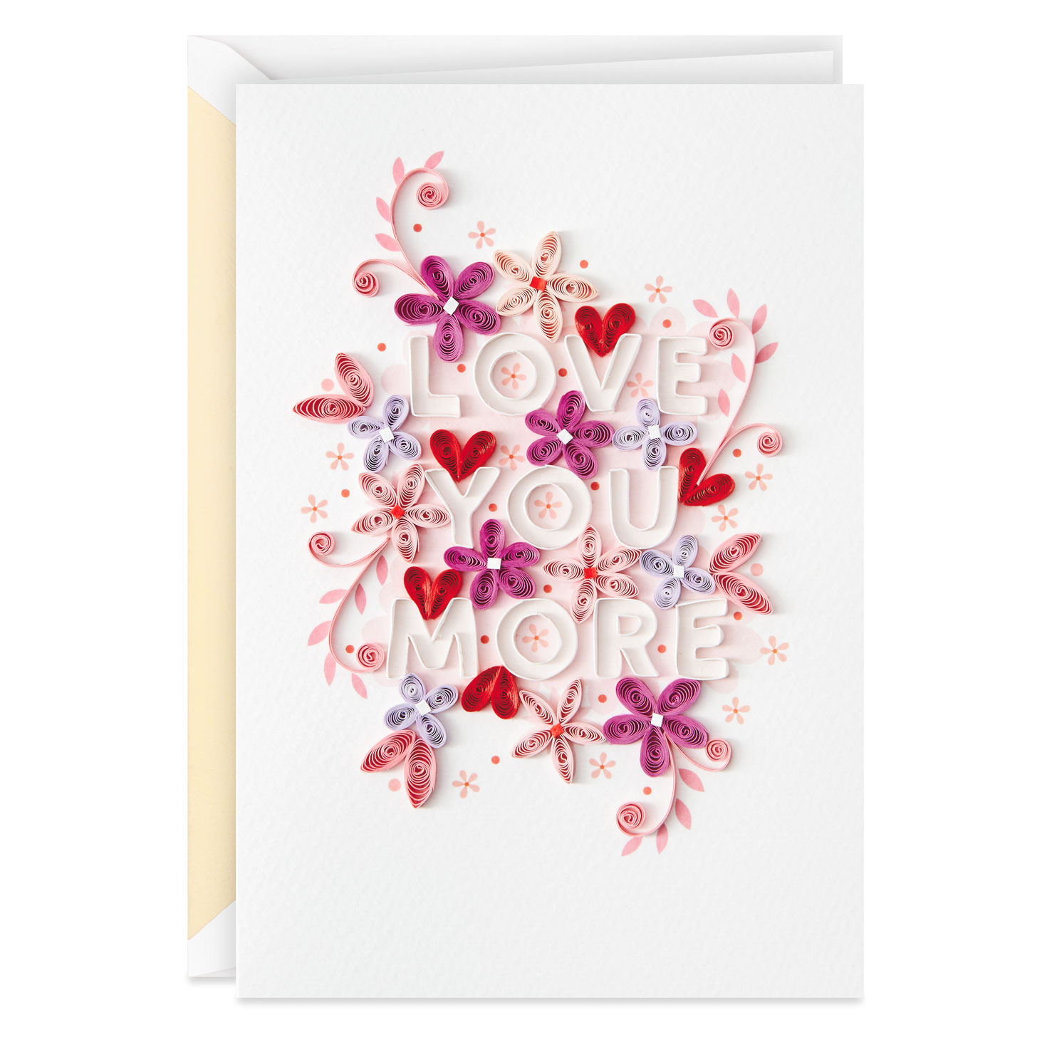 love you more quilled valentine's day card  greeting