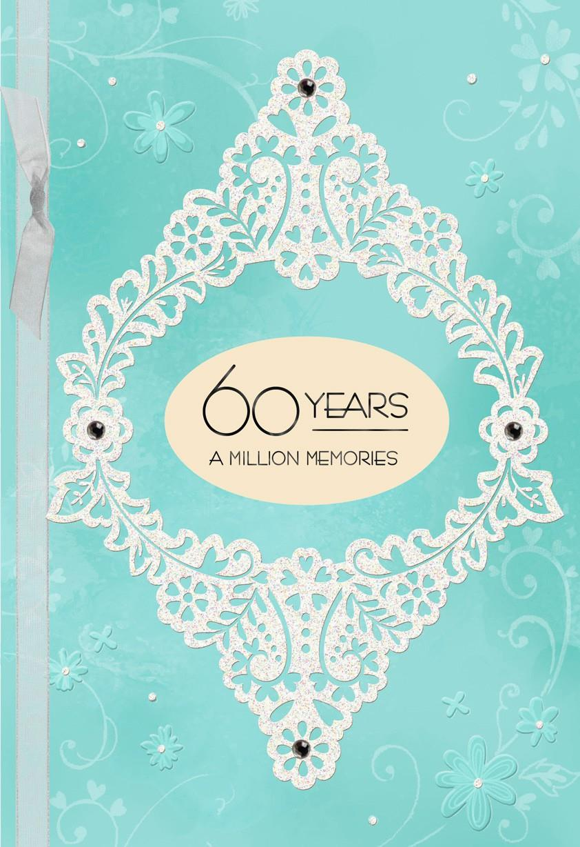 Blue And White Floral 60th Anniversary Card Greeting