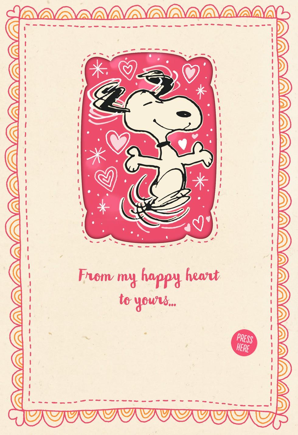 Snoopy musical valentines day card with light greeting cards snoopy musical valentines day card with light m4hsunfo