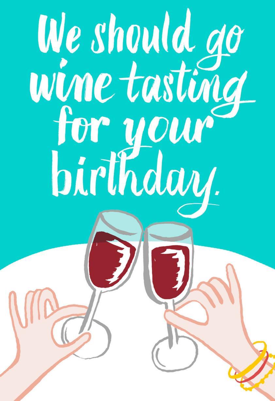Lets Go Wine Tasting Funny Birthday Card