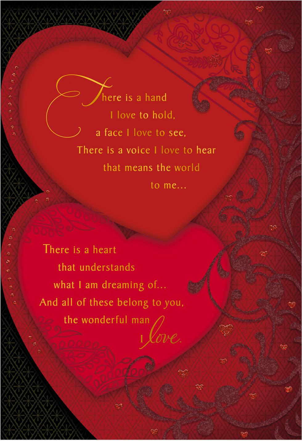 Two Hearts With Lace Valentines Day Card For Husband Greeting