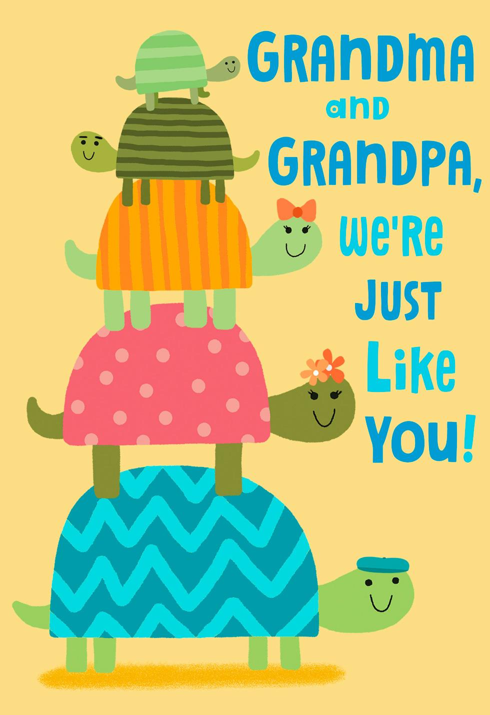 Stack Of Turtles Grandparents Day Card From Us Greeting