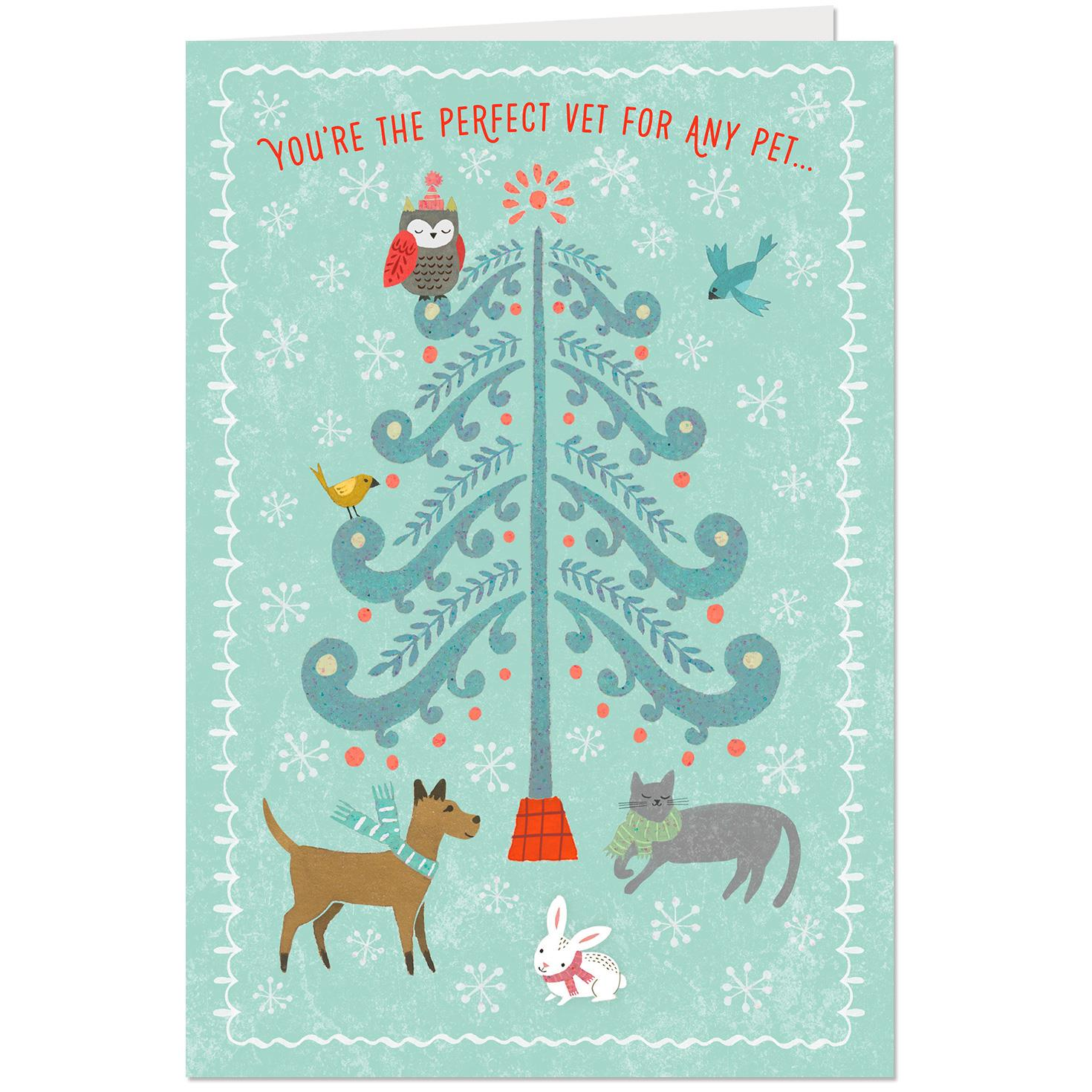 Tree With Cute Pets Thank You Christmas Card For