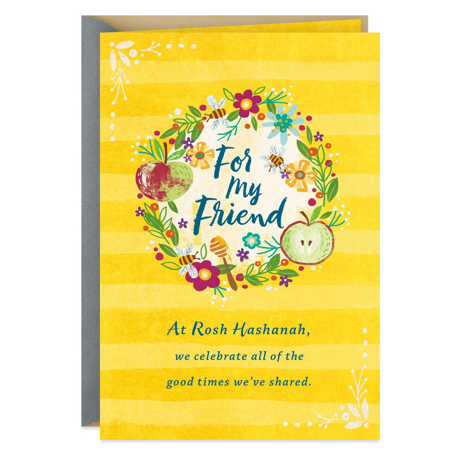 fall wreath rosh hashanah card for friend  greeting cards