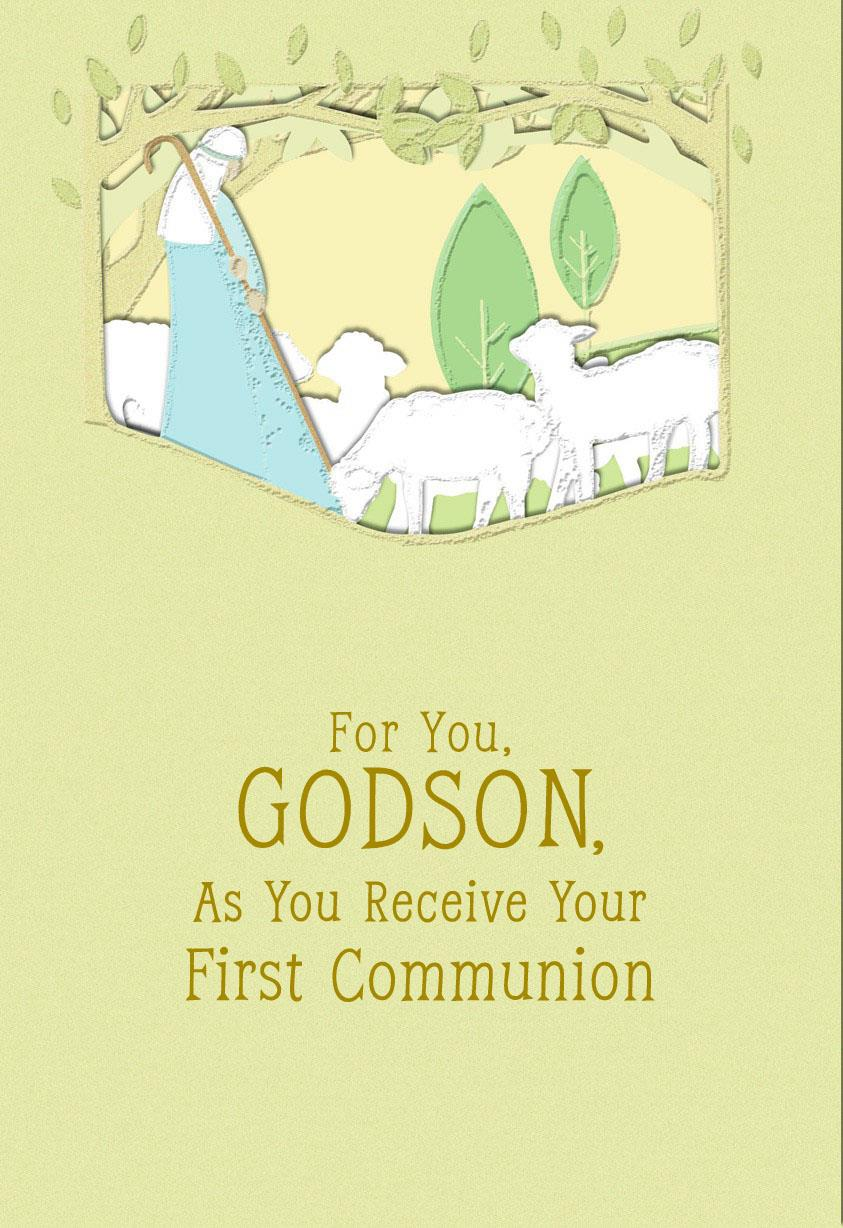 Lamb Of God First Communion Card For Godson Greeting