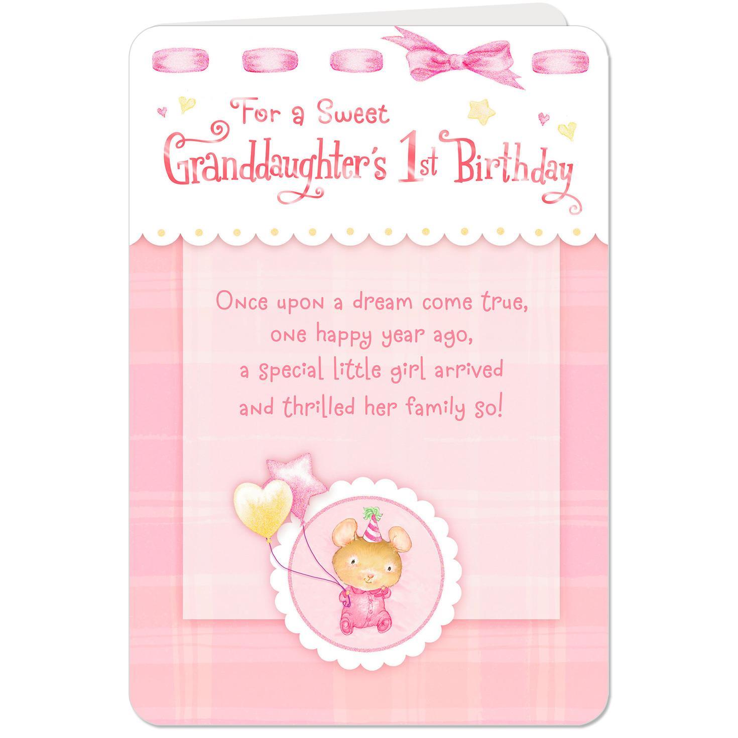 Dream Come True 1st Birthday Card For Granddaughter