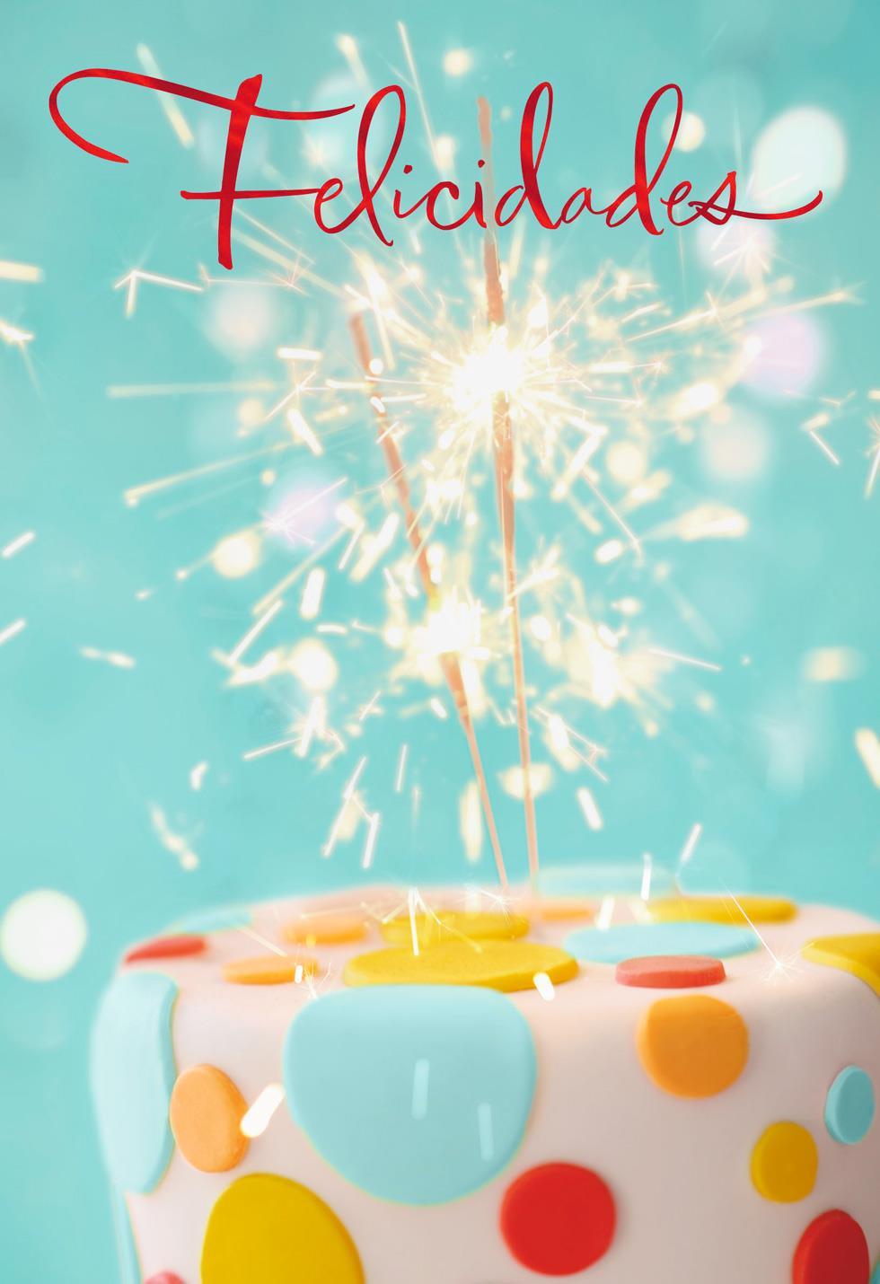 Sparkler Cupcake Spanish Language Birthday Card Greeting