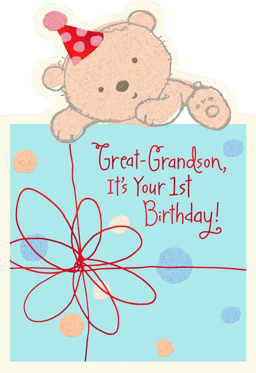 Baby Bear 1st Birthday Card For Great Grandson