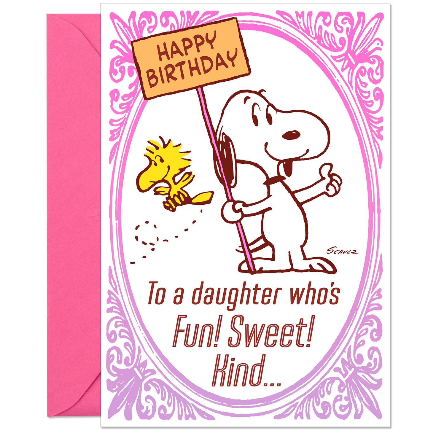 Peanuts Snoopy And Woodstock Sweet Daughter Funny Birthday Card