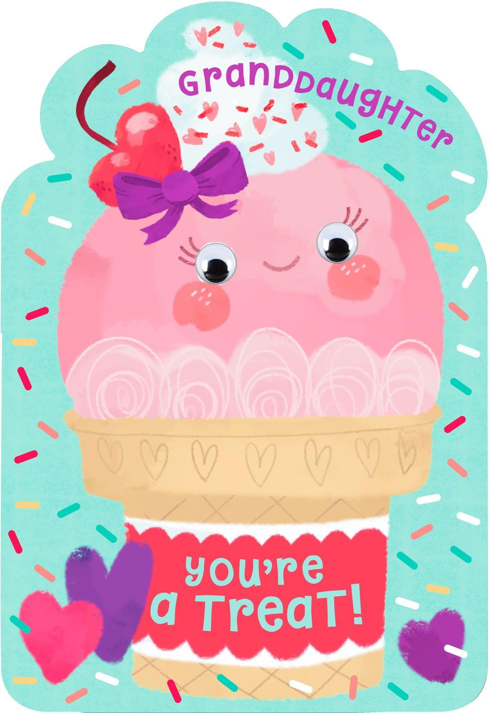 Ice Cream Cone Youre a Treat Valentines Day Card for – Granddaughter Valentine Card
