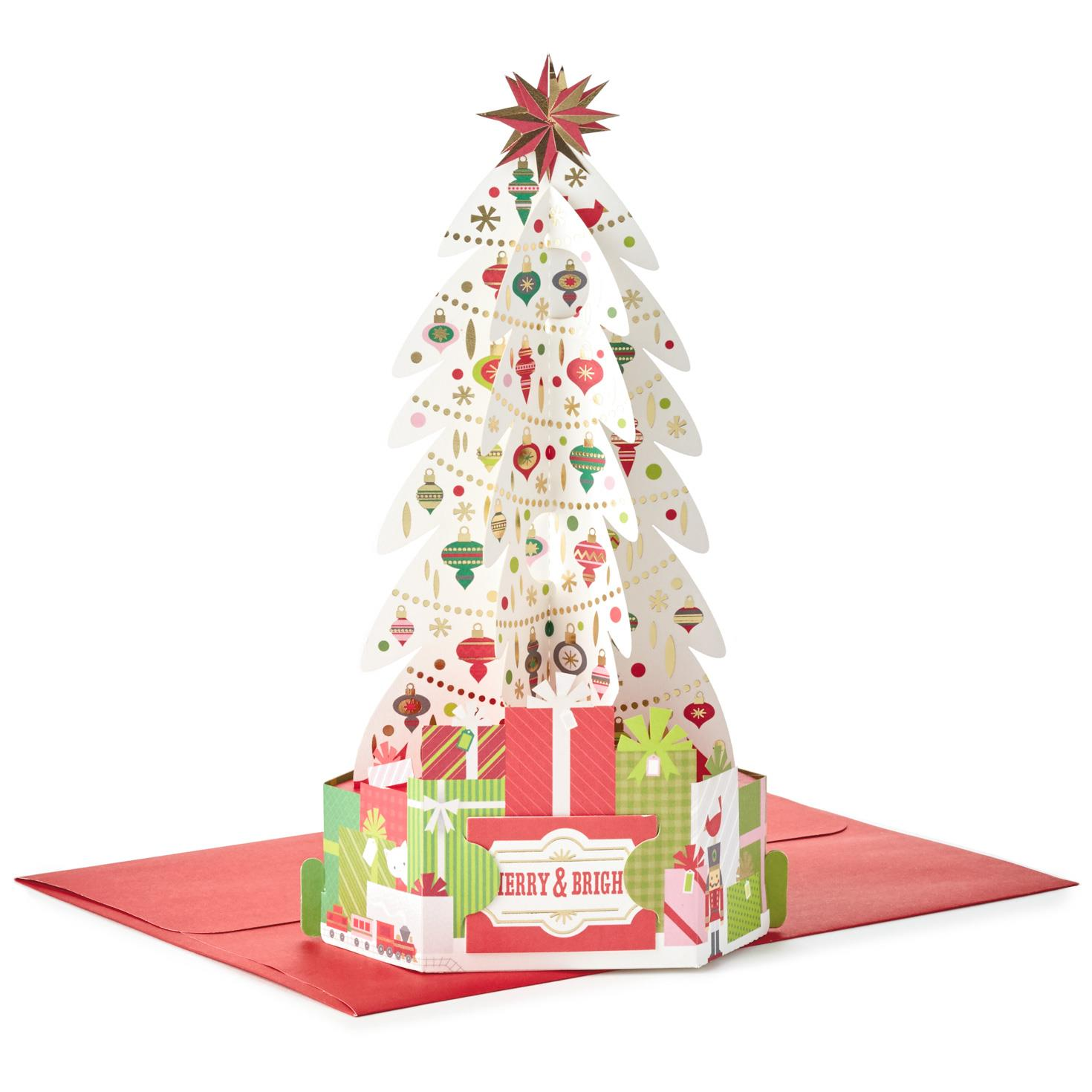 decorated tree pop up christmas card