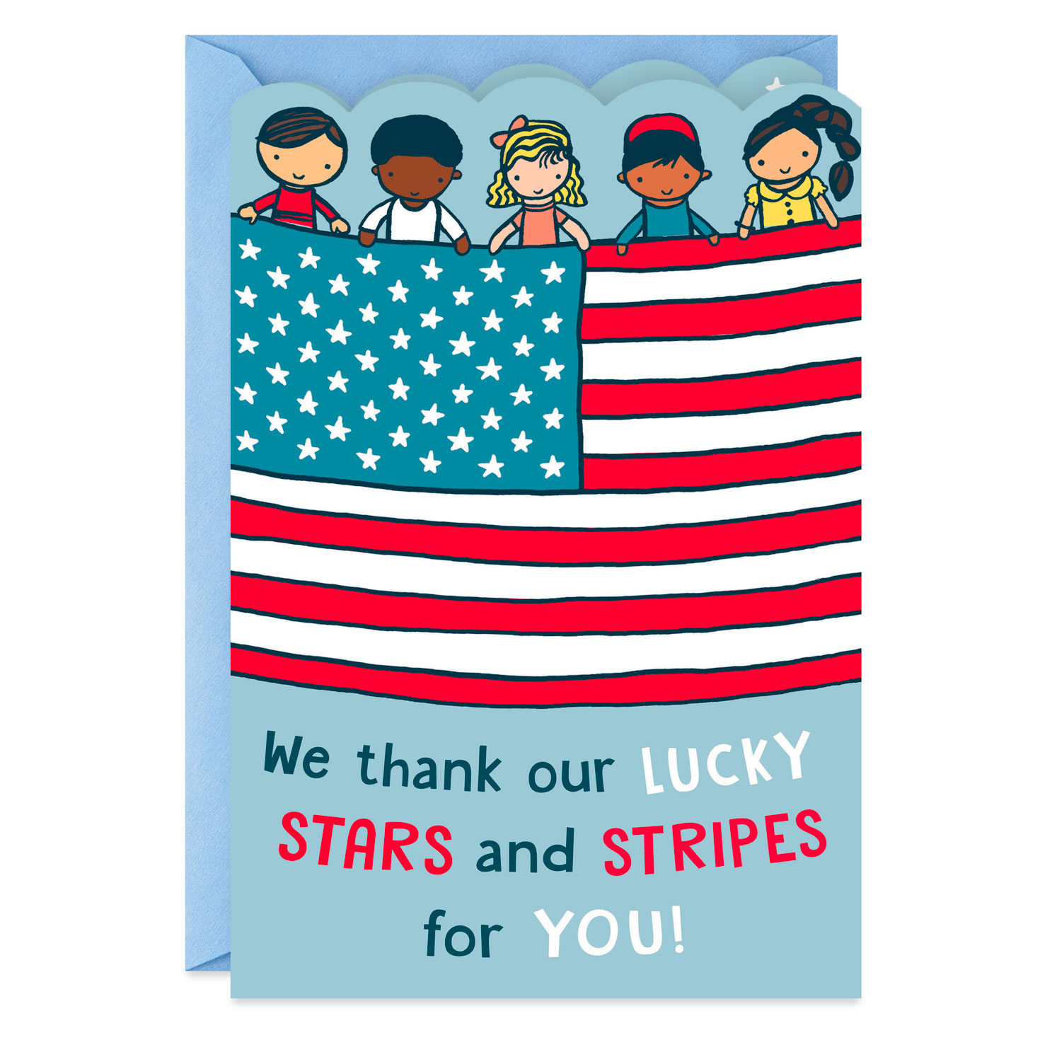 thank our lucky stars and stripes veterans day card