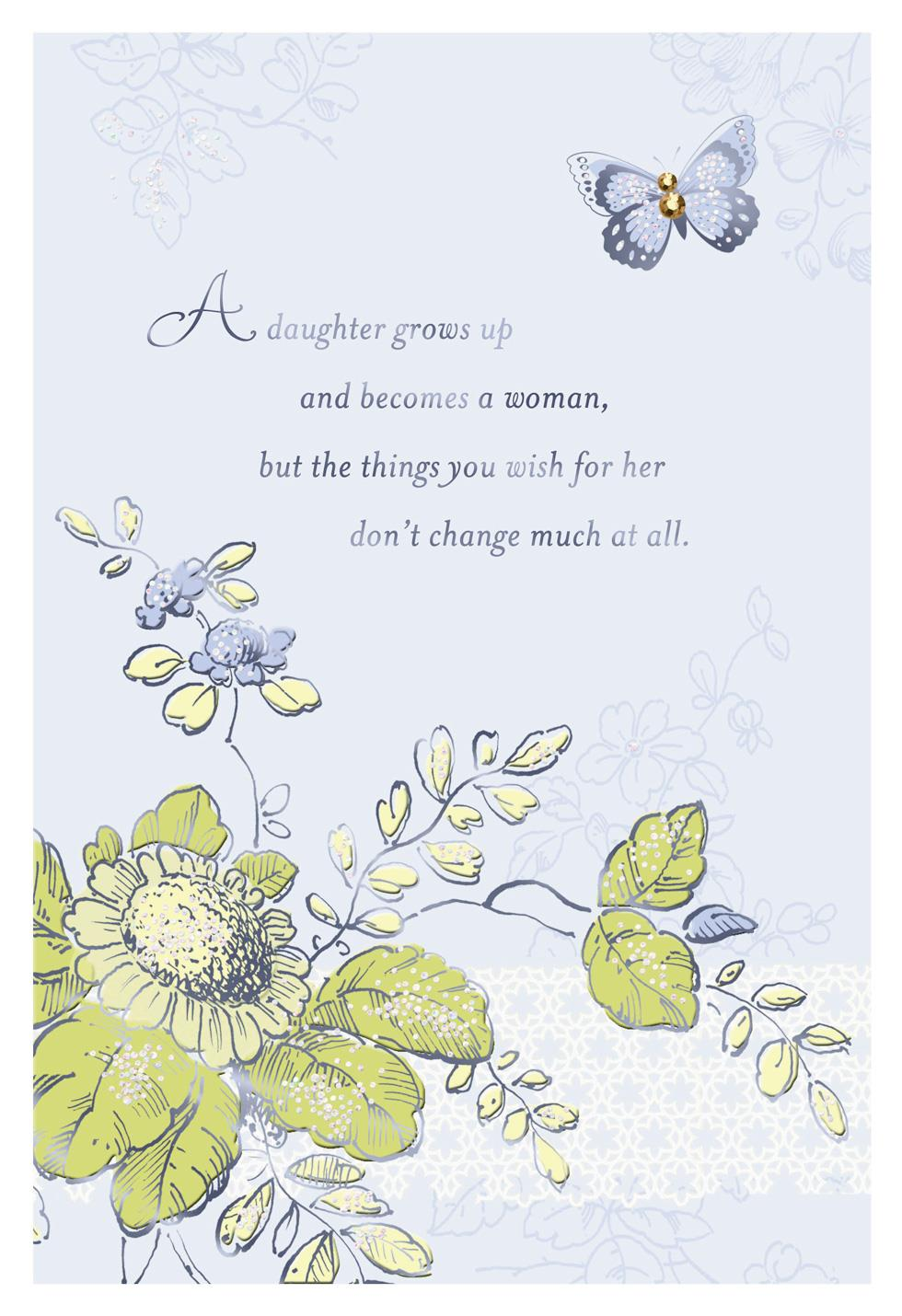 Butterfly And Flowers Birthday Card For Daughter Greeting Cards