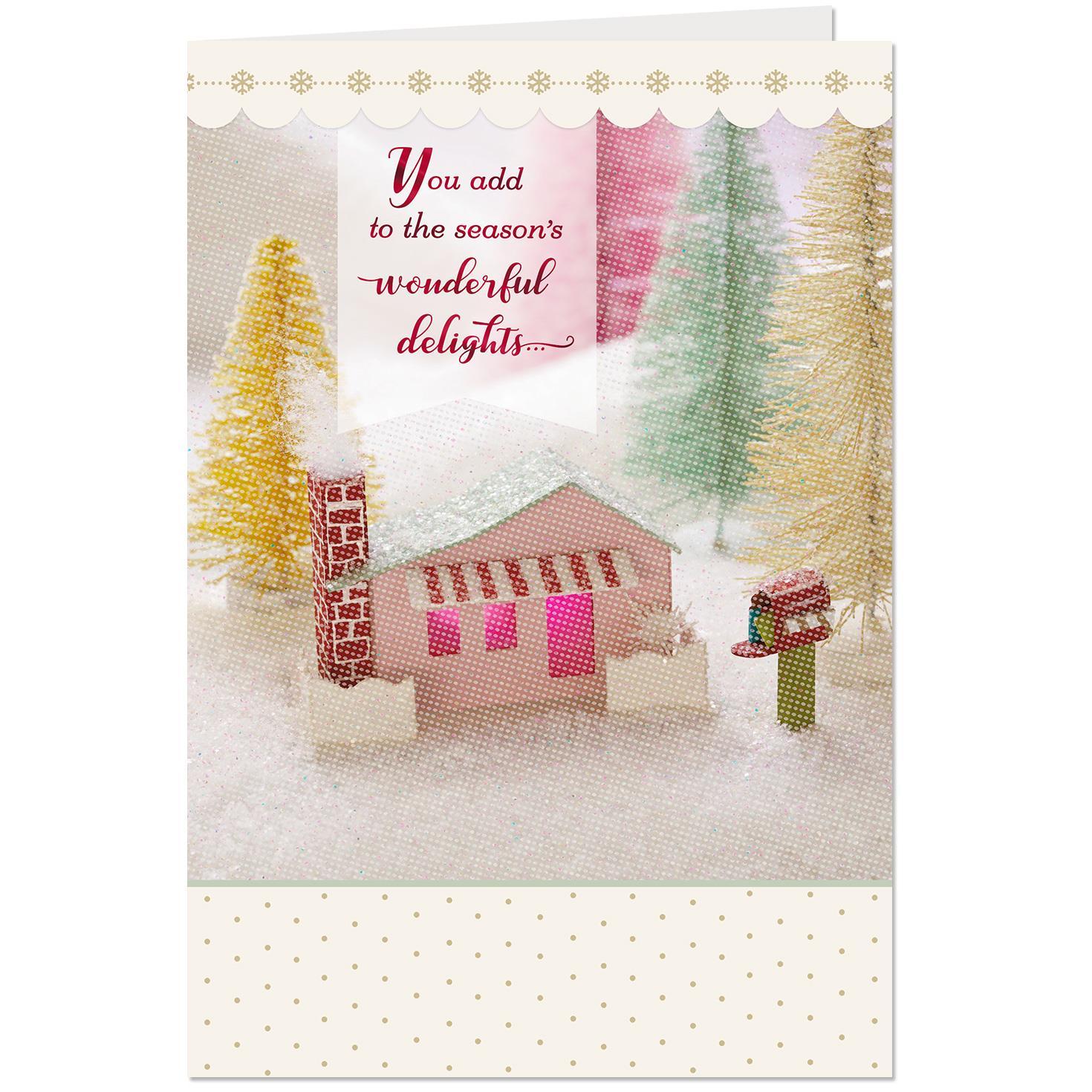 Miniature House Vignette Christmas Card For Service Provider