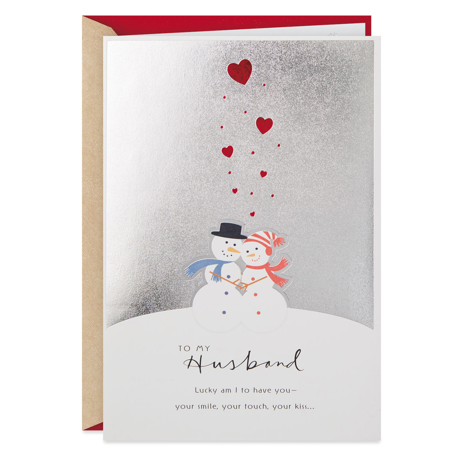 Hugging Snowman Couple Christmas Card For Husband