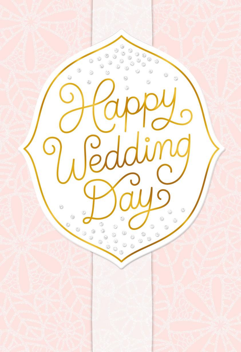 Pink Happy Wedding Day Congratulations Greeting Cards