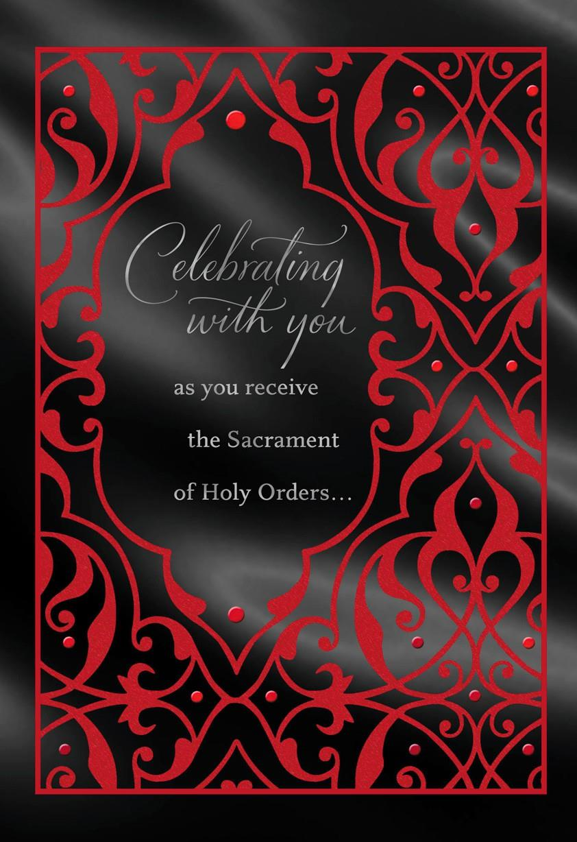 Red and Black Joining the Ministry Congratulations Card ...