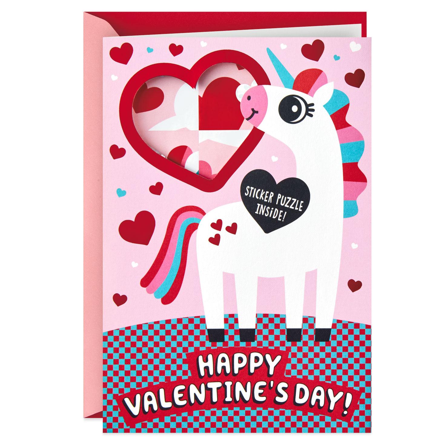 Tannenbaum Puzzle.Unicorn Valentine S Day Card With Sticker Puzzle Activity