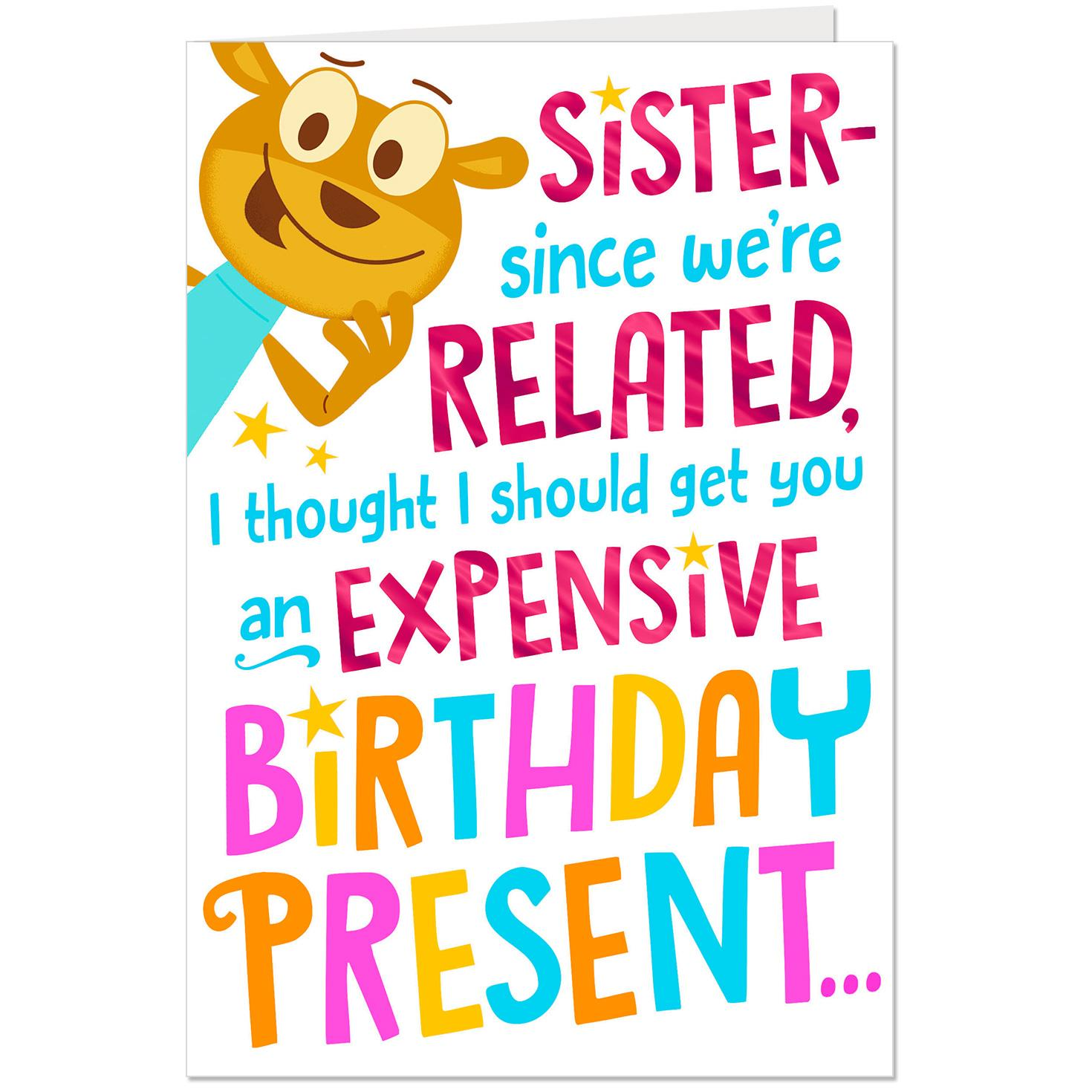 Expensive Birthday Present Funny Birthday Card For Sister