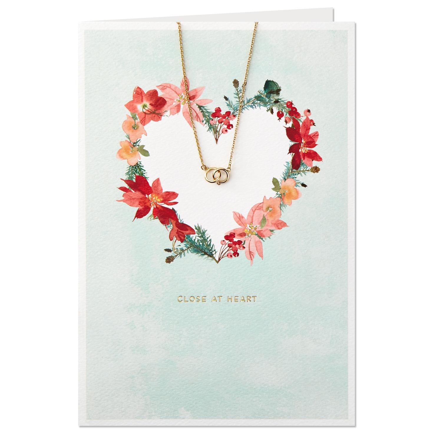 Heart Wreath Christmas Card With Interlocking Circles