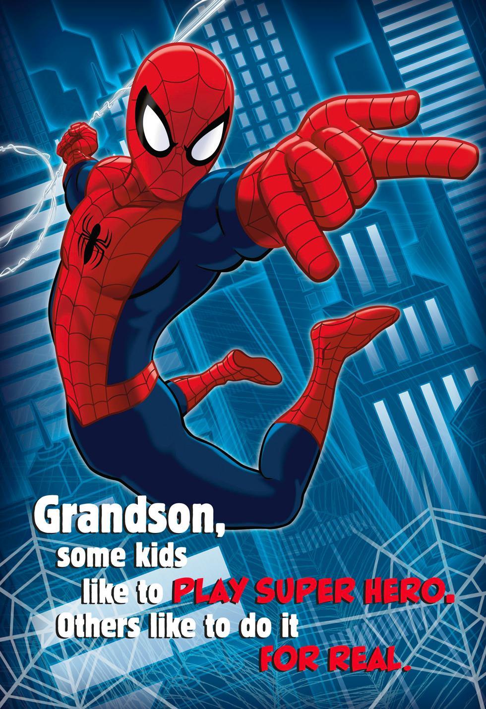 Spider man true hero musical birthday card for grandson greeting spider man true hero musical birthday card for grandson bookmarktalkfo Gallery