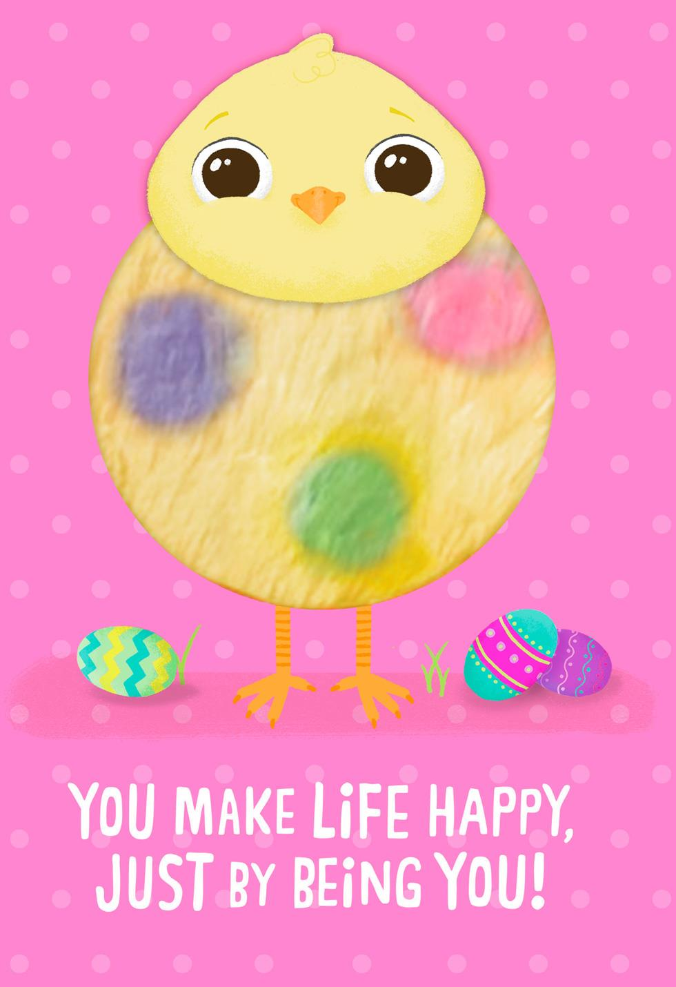 fuzzy chick make life happy easter card for kids
