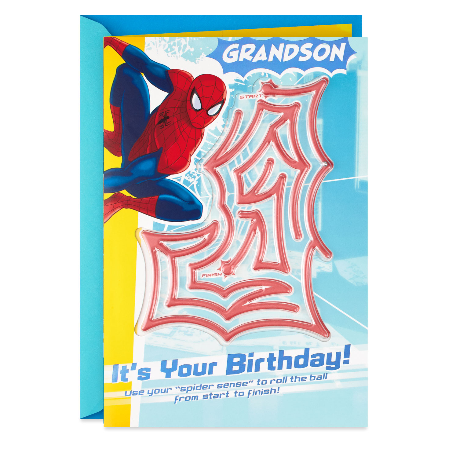 marvel spiderman birthday card for grandson with pinball